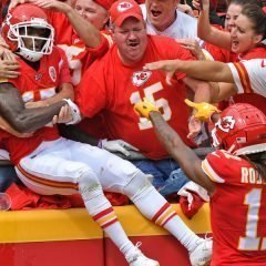 KANSAS CITY, MO - SEPTEMBER 22:  Wide receiver Mecole Hardman #17 of the Kansas City Chiefs leaps into the stands after scoring a touchdown against the Baltimore Ravens during the first half at Arrowhead Stadium on September 22, 2019 in Kansas City, Missouri. (Photo by Peter Aiken/Getty Images)