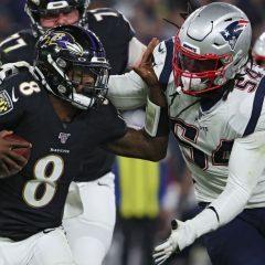 NFL '19: week 9, i Patriots cadono davanti al football vintage dei Ravens