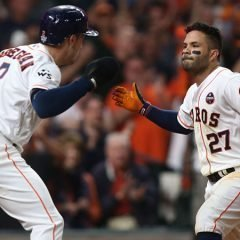 Oct 29, 2017; Houston, TX, USA; Houston Astros second baseman Jose Altuve (27) celebrates with third baseman Alex Bregman (2) after hitting a three-run home run against the Los Angeles Dodgers in the fifth inning in game five of the 2017 World Series at Minute Maid Park. Mandatory Credit: Troy Taormina-USA TODAY Sports