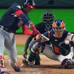 Washington Nationals' Juan Soto hits a two-run scoring double during the fifth inning of Game 1 of the baseball World Series against the Houston Astros Tuesday, Oct. 22, 2019, in Houston.(AP Photo/Eric Gay)