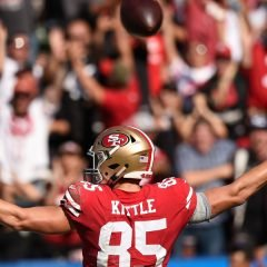 CARSON, CA - SEPTEMBER 30: Tight end George Kittle #85 of the San Francisco 49ers celebrates his touchdown in the third quarter against the Los Angeles Chargers at StubHub Center on September 30, 2018 in Carson, California. (Photo by Kevork Djansezian/Getty Images)