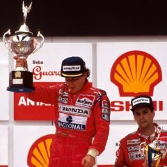 Brazilian Grand Prix podium and results: 1st Ayrton Senna (BRA), McLaren, centre. 2nd Riccardo Patrese (ITA), Williams, left. 3rd Gerhard Berger (AUT), McLaren, right. Brazilian Grand Prix, Rd2, Interlagos, Sao Paolo, Brazil, 24 March 1991.